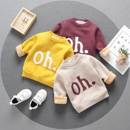Letter OH Autumn Boys Girls Sweaters Tops Knitting Pullover Toddler Long Sleeve Round Collar Baby Girl Kids Sweater with Velvet on Sale