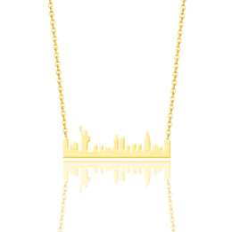 York Necklace UK - Vintage Stainless Steel New York Skyline Necklace Women Ethnic Jewelry Silver Gold Color US Cityscape Pendant Necklaces Colar