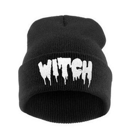 $enCountryForm.capitalKeyWord UK - 1 Piece Hip Hop Sport Beanies Warm Unisex Casual Hat Autumn Letter WITCH Knitted Cap Men Woman Winter Hat for Gift