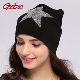 Sailor Hats For Girls Canada - Geebro Women's Beanie Hat Casual Solid Star Knitted Hat Autumn Cotton Warm Beanies For Girls Sequins Cap Balaclava Hats JS259A