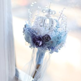 $enCountryForm.capitalKeyWord NZ - High-end custom blue crown snow bride bridal bouquet style crystal bouquet smoke gray cloth