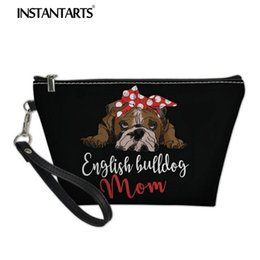 $enCountryForm.capitalKeyWord Canada - INSTANTARTS Famous 3D Cute Puppy Dog English Bulldog Print Leather Make Up Case Female Mini PU Toiletry Travel Cosmetic Pouch