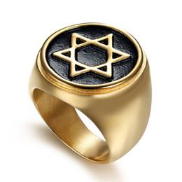 Simplicity Ring UK - Simplicity hexagram hexagonal titanium steel ring punk Gothic  men's ring(RI103109)