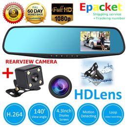 $enCountryForm.capitalKeyWord NZ - 4.3'' Car DVR Full HD 1080P Dual Lens Auto Mirror Dash Cam Recorder + Rearview Camera DHL Free Shippping