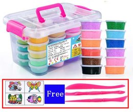 Big Storage Boxes Australia - Plasticine Modeling Clay Multicolor Suit Children Model Toys DIY Crystal Clay Snowflake Putty storage box wholesale Free accessories