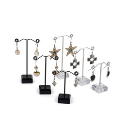 Jewelry Set Stand NZ - TONVIC 4 Sets Clear Black Acrylic Earring Jewelry Display Stand Holder Showcase T Shaped 3 Pcs In 1 Set For 6 Holes