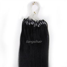 "$enCountryForm.capitalKeyWord Australia - 15""-26"" 500s 1# Jet Black Loop Micro Ring Hair Brazilian Indian virgin Remy Human Hair Extensions"