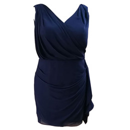 Champagne Mother Brides Knee Length Suits NZ - Hot Selling Plus Size Navy Blue Knee Length Sleeveless Mother of the Bride Dresses In Stock Under 100