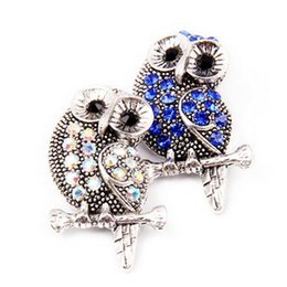 snap button jewelry owl NZ - Metal Owl Snap Button Crystal Rhinestone Snap Button Charm Fit DIY 18mm Bracelet&Necklace Jewelry 10pcs lot