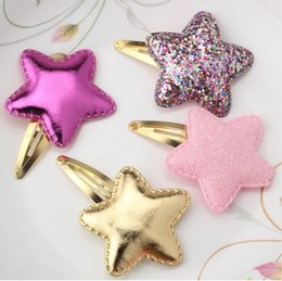 Shiny black hair online shopping - New Arrival Summer Style Metal Color Children Shiny Star Hairgrips Baby Hairpins Girls Hair Accessories Heart Star Hair Clip