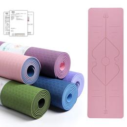 dance mat dancing 2019 - Yoga Mat 6mm TPE Double Color Line Position Body Non Slip Eco-friendly Exercise Sports Mats Thick Pilates Fitness Dance