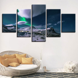 Art Canvas Prints Australia - HD Prints Pictures Wall Art 5 Pieces Iceland Aurora Cloud Paintings Modular Canvas Poster For Living Room Home Decor Framework