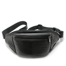 cowhide waist bag UK - Genuine Leather Waist Bag For Men's Chest Bag Fashion Cowhide Fanny Pack Travel Money Belt Waist Pouch Molle Pochete Phone Bags