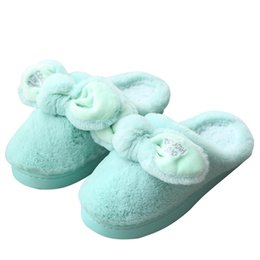 Discount lady slipper footwear - Winter home slippers women cute bowknot warm plush house bedroom shoes ladies indoor fluffy cotton slides floor footwear