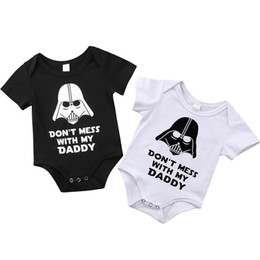Chinese  Summer Newborn Baby Boy Black White Romper Jumpsuit Outfits Clothes Summer Infant Lovely Letter Print Don't mess with my Daddy Kid Clothing manufacturers