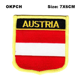 $enCountryForm.capitalKeyWord NZ - Austria Shield Shape Iron-on Flag Patch Embroidered Saw on Badges Patches for Clothing