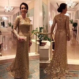 Women formal sleeve dresses online shopping - Vintage Mother of the Bride Dresses Long Sleeves Full Lace Appliques Fitted Formal Godmother Women Wear Evening Wedding Party Dress
