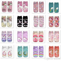 Costumes Parties Australia - 3D Unicorn Printed Socks Unisex Women Men Halloween Cosplay Costume Short Boat Socks Party Festival Decoration Foot Cover Sock HH7-1545