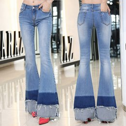 $enCountryForm.capitalKeyWord Canada - Elastic Ripped Women Flare Jeans Long Bell-Bottoms Jeans Stretching for Girls Trousers for Female Panelled Jeans Large Size