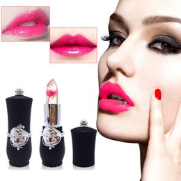 China 6 Styles Flower Crystal Jelly Lipstick Magic Temperature Change Color Lip Balm Makeup Non-stick Cup Long-lasting Lipstick Free shipping supplier wholesale magic lipstick suppliers