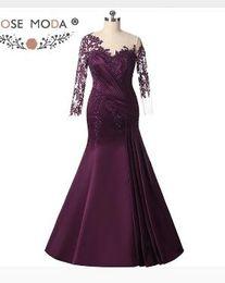 $enCountryForm.capitalKeyWord UK - Rose Moda Long Sleeves Purple Mermaid Evening Dress Formal Party Dress Plus Size Evening Dresses 2018 Custom Made