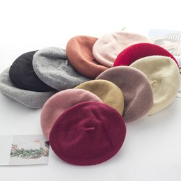 Wholesale 9 Colors Wool Women Knit Beret Winter Warm Female British Style Lady Painter Bonnet Hats Solid Color Hot Y18110503