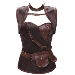 Chinese  Plus Size 6XL Punk Corset Faux Leather Steel Boned Gothic Clothing Waist Trainer Basque Steampunk Corselet Cosplay Outfits Brown manufacturers