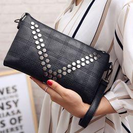 05259c240686 Three Colors Fashion Women Clutch Bag High quality pu leasther Brand Girl  Small Rivet Shoulder Bag Female Handbag bolsa feminina