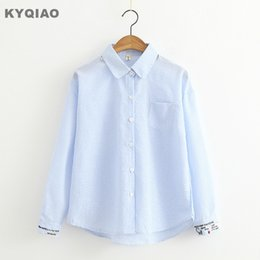 Kyqiao White Lace Shirt 2019 Mori Girls Spring Autumn Japanese Style Fresh Sweet O Neck Lace Embroidery Blouse Blusa Top Women's Clothing