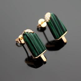 $enCountryForm.capitalKeyWord NZ - New fashion 316L titanium steel B letter ladies earrings 18K rose gold plated turquoise ice cream earrings gift