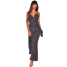 China Fashion 2018 Womens Striped Jumpsuit Belt Bow Wide Legs Loose Spaghetti Strap Elegant Office Lady Long Overalls Evening Rompers cheap evening rompers suppliers