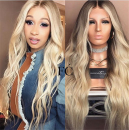 Blonde two tone wigs online shopping - 100 Human Hair Full Lace Blonde Wig Ombre Color B Two Tone Body Wave Front Lace Wigs Dark Root With Baby Hair