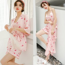 Female sexy robes online shopping - Summer Pajamas Female Thin Sexy Camisole Shorts Robe Three Piece Set Ice Silk Strawberry Pajama Sweet Sleepwear Home Clothing al gg