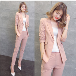 $enCountryForm.capitalKeyWord Canada - Pink orange two-piece women's spring and autumn fashion suit, office business suit, simple wind women's clothing
