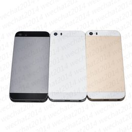 Iphone 5s Back Side Australia - 500PCS Metal Full Housing Back Cover Battery Cover with Side Buttons for iPhone 5 5s SE