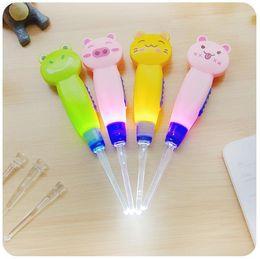 New Cute Baby Ear Syringe Ear Cleaner Animals Luminous Earwax Spoon Clean Flashlight Plastic Earpick Handle on Sale