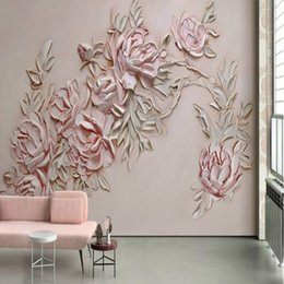 Discount flower modern painting black - Hand-painted 3d embossed rose flower mural wallpaper TV backdrop painting living room bedroom Modern wallpapers