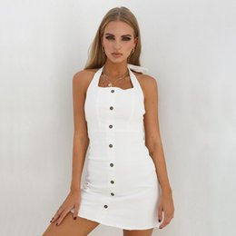 faf954a15f sexy jean dresses 2019 - Summer Dress 2018 New Arrivals Sexy Backless  Halter White Jeans Dress