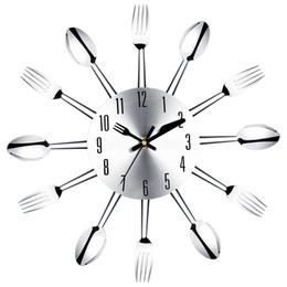$enCountryForm.capitalKeyWord Australia - Best Stainless steel knife and fork spoon kitchen restaurant wall clock Home Decoration