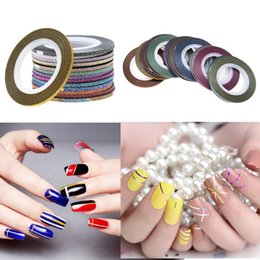 $enCountryForm.capitalKeyWord NZ - 8pcs Vinyl Nail Sticker Scrub Striping Tape Liner Nail Art Tips Decoration DIY Manicure Decals Strips Roll Mix Colors 1-3mm