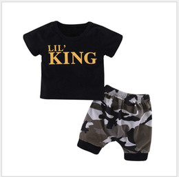 New Summer Baby Boys Letters Printed Short Sleeve T-shirt+Camouflage Shorts 2pcs Set Kids Clothing Sets Children Outfits Toddler Suit Retail on Sale