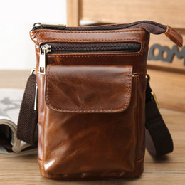 $enCountryForm.capitalKeyWord Canada - Unique personality leather crossbody bags for men retro oil wax light leather Messenger bag outdoor pockets mobile phone bag