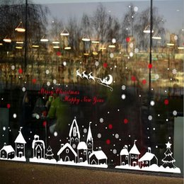 Christmas Window Stickers For Shops Canada - New Santa reindeer shop window stickers decorated Christmas wall stickers glass snowflake window diy home Xmas decor