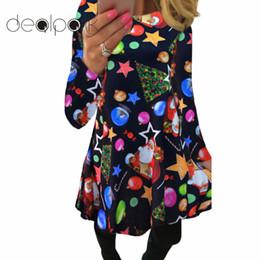 a0bef56a484 2018 Autumn Winter Christmas Dress Women Plus Size Print Dress Midi Elk Snowflake  Long Sleeve A-Line Party female 5XL XXXL
