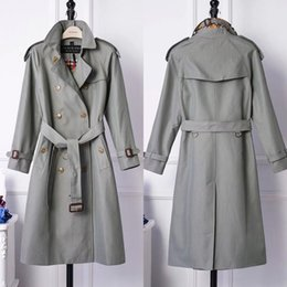 British women s coats online shopping - The new British double breasted lapel of autumn winter new long style trench coat with waterproof fabric for women