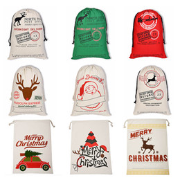 Drawstring bags for kiDs online shopping - 2019 Christmas Gift Bag Large Canvas Halloween Bags Santa Sack Drawstring Bag With Reindeers Santa Claus Sack Bags for kids OTH588