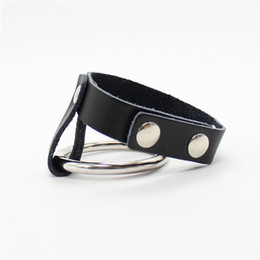$enCountryForm.capitalKeyWord Australia - PU Leather Penis Rings Sleeves Delay Cockring Metal Cock Ring S&M Sex Toy Product for Couple Adult Game Men Male Chastity Belts