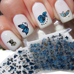 Gold Sticker Tattoos NZ - 3D nail sticker Butterfly flower designed glitter blue gold silver nail wraps adhesive DIY Art Decoration Tattoo BZ055