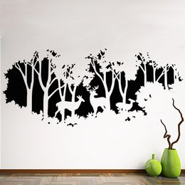 Small House Decoration Australia - Art New Design home decoration Vinyl deers in forest wall sticker removable cheap PVC house decor trees and animal decals