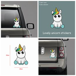 Personalized reflective car stickers online shopping - Fashion Lovely Unicorn Car Sticker Reflective Funny Cartoon Waterproof Vinyl Decals Car Styling Home Decor AAA199
